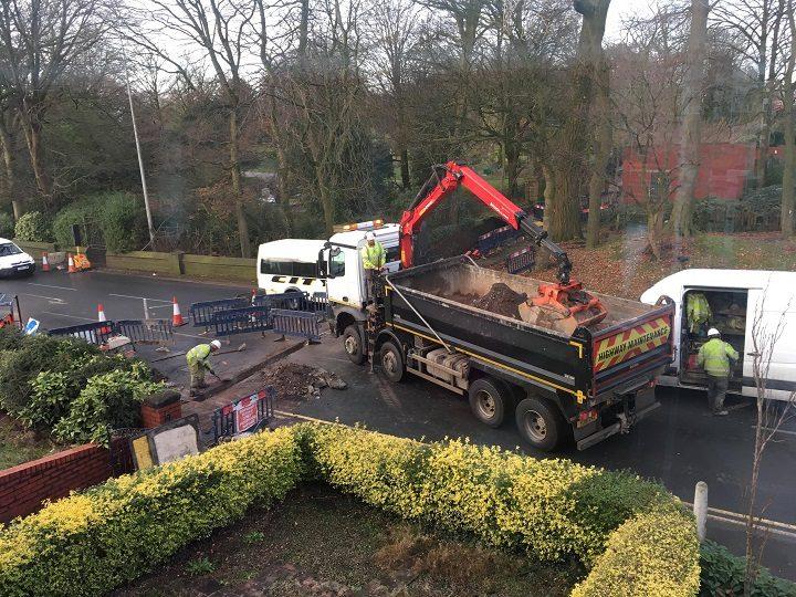 Roadworks in New Hall Lane during Saturday (2 December) Pic: Sue Walker
