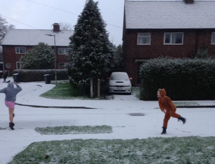 A snowball fight in Penwortham - nice onesie! Pic: Cherry Alston