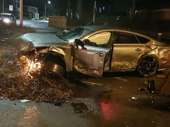 The damage to the car can be seen