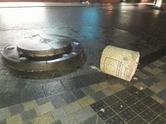 The shared space was funded by the European Union - as outlined on the bollard