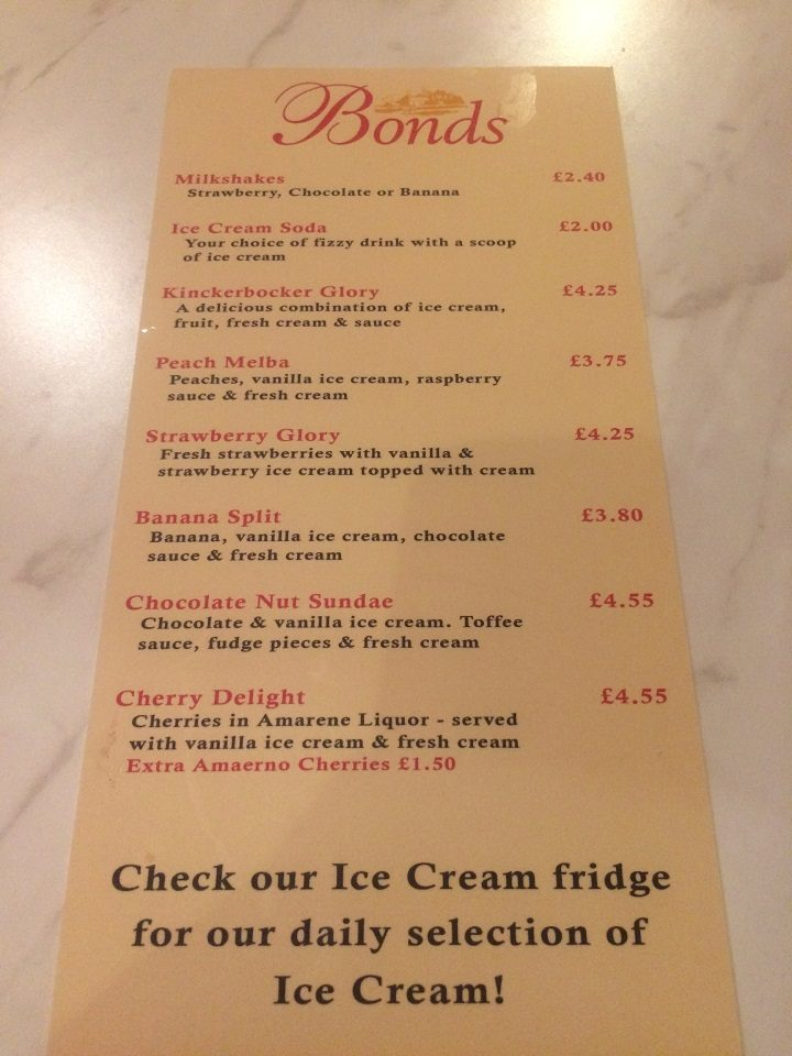 Menu for Bonds of Elswick