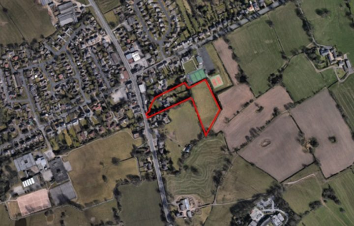 An overhead view of where the new housing development would be - near to the Broughton crossroads