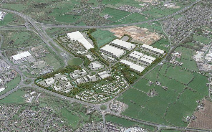 Aerial view of the Cuerden development