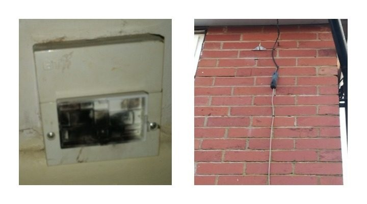 The damage caused to the fuse box by the lightning strike Pic: Benny Mc'Nally