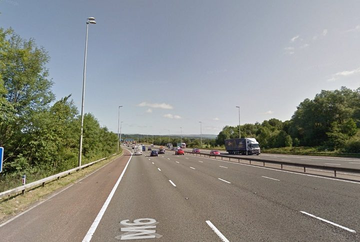 The M6 has a lane closed near Junction 31 Pic: Google