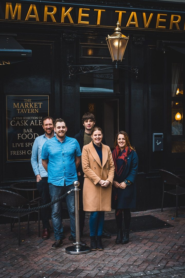 The team behind the Market Tavern, including Jeremy Rowlands, far left, and Rebecca Scott, far right
