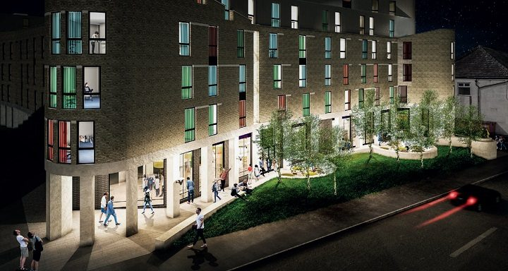 How the new flats would look along Moor Lane at night