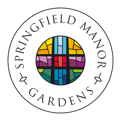 The stained glass of the new logo for the care home takes inspiration from the glass in the home's chapel