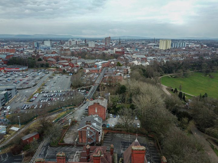 A view of Preston from a drone Pic: scrappynw
