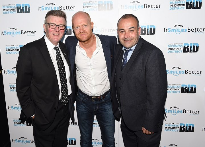 John Gillmore of BBC Radio Lancashire and Danny Bee were the presenters, and were joined by Jake Wood - EastEnders actor - centre - to host the last time the awards were held in 2016
