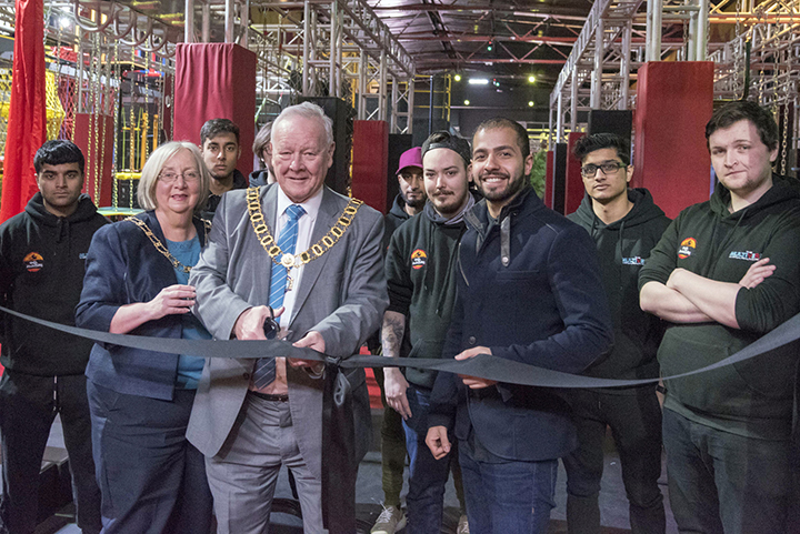 Mayor of Preston Cllr Rollo opens Ninja Adventure in Preston. Photo: Richard Clein, Boxed Off