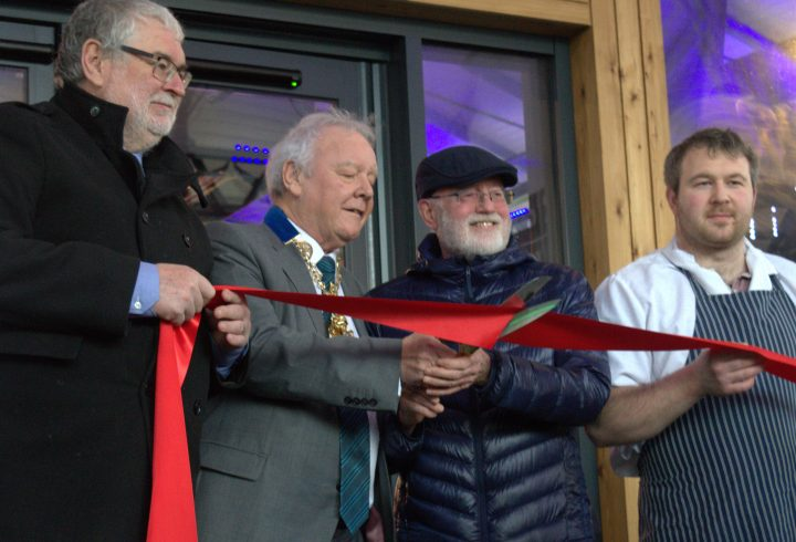 Cutting the ribbon at the official opening of the Preston Markets. Pic: Tony Worrall