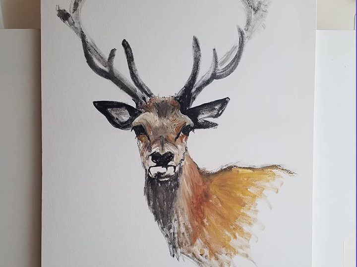 Stag original canvas by Rachel Joyner