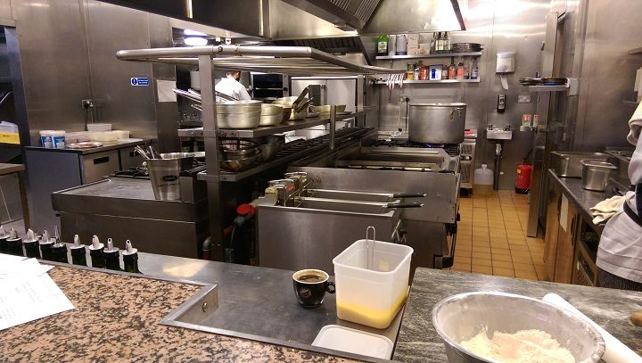 A view inside the A Mano kitchen - much of the kit has been refurbished since Tiggis days