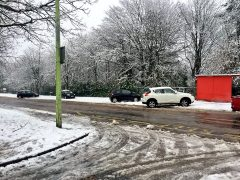 Abandoned cars in Clayton-le-Woods due to the road conditions Pic: leegiacopazzi