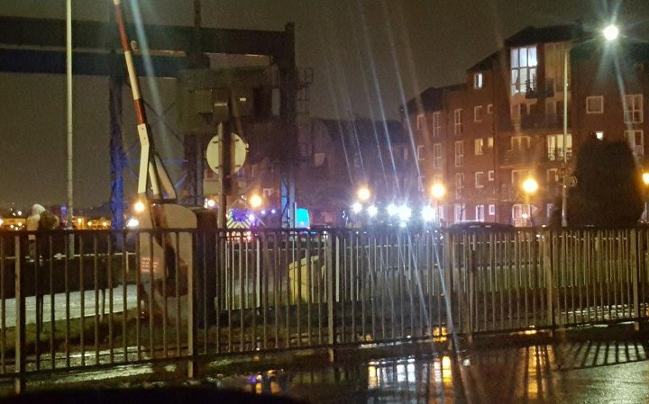 Emergency services could be seen at the Docks on Thursday night Pic: Lancss Alexx