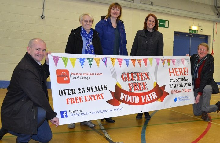 The Gluten Free Food fair organisers:  Mark Peckham, Pat Beesley, Vicki Wetton, Claire Tulloch and Stephen Parkinson