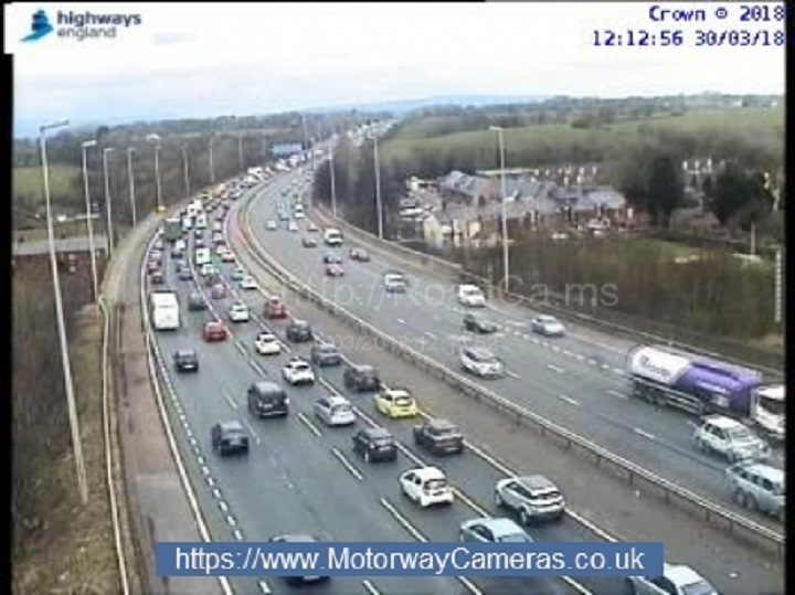 View of the motorway at Junction 31 which is seeing delays due to the crash further north Pic: Motorway Traffic Cameras