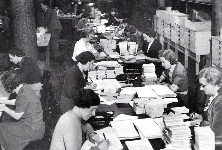 Dealing with ration books in the Town Hall in 1947