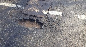 Pothole reported in Cop Lane, Penwortham, in late February Pic: FixMyStreet