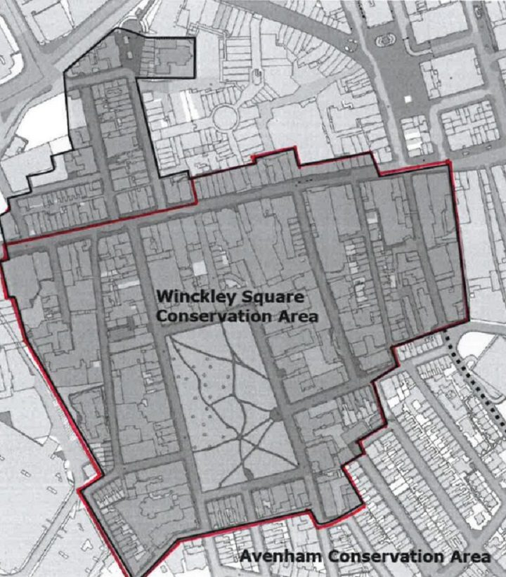 The area surrounded by the red line shows where the new conservation area would be - the area to the north is lost