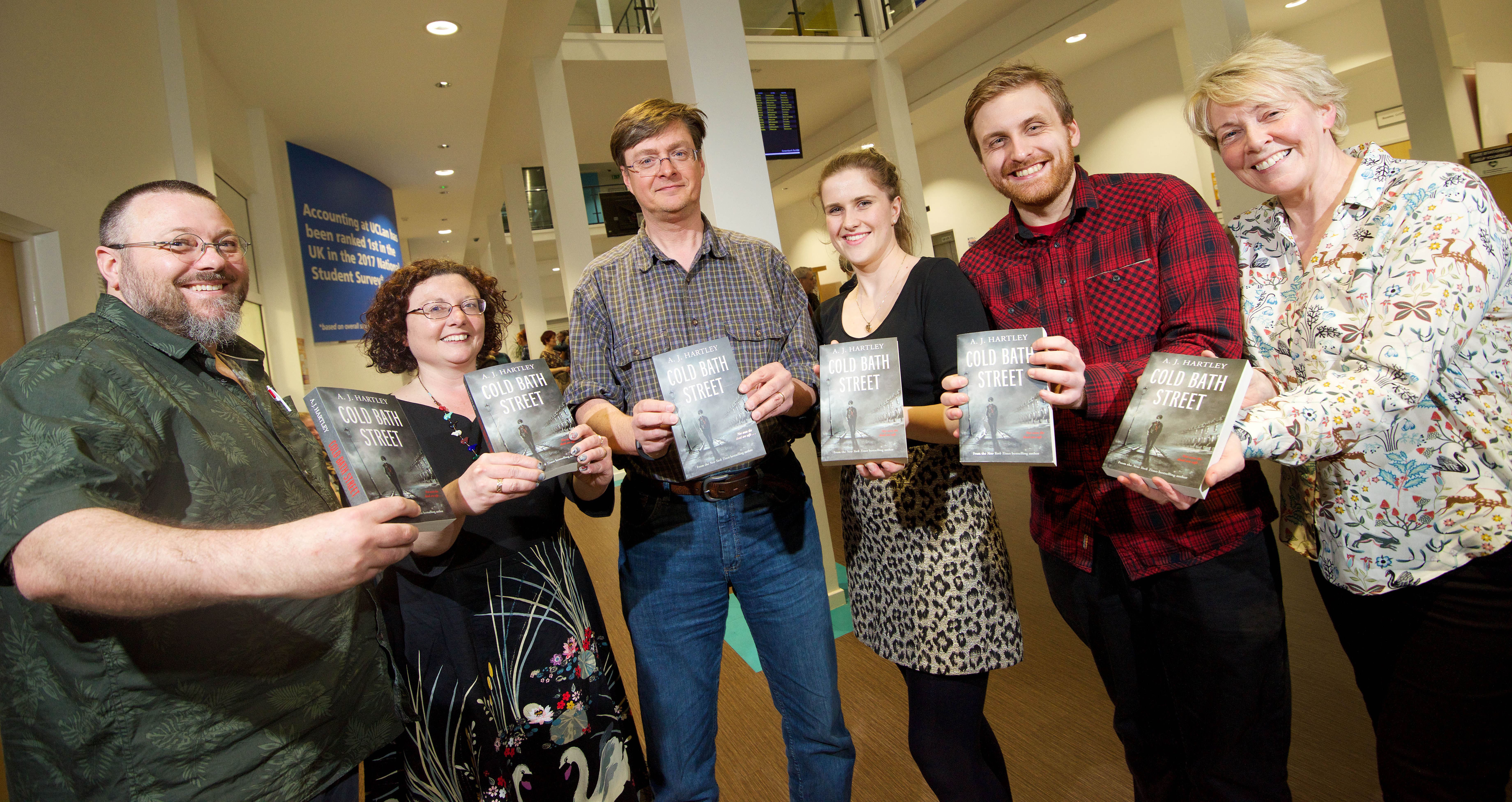 The Cold Bath Street launch - Wayne Noble, lecturer in digital publishing, UCLan Associate Professor of Publishing and Head of the Publishing House Debbie Williams, A.J. Hartley, Publishing graduates Brionee Fenlon and Sam Johnson and MA Fine Art student Janet Pickering
