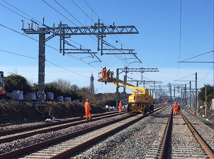 Workers on the Preston to Blackpool line Photo: GNRP