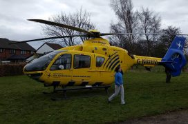 Air ambulance landed in Kingsfold during the incident Pic: David Jackson