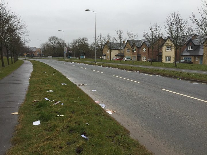 Another view of the rubbish fly-tipped in Cottam Way Pic: Michael Casterton