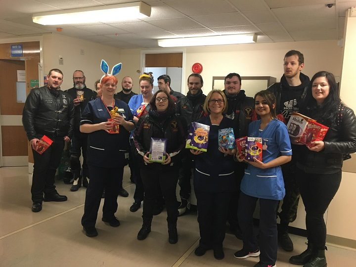 Delivery made by the bikers to Royal Preston Hospital children's ward