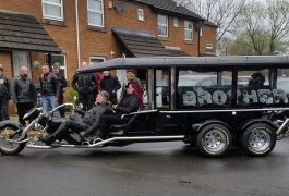 Karl was taken by motorbike pulled hearse
