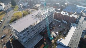 Aerial view of the new UCLan engineering centre