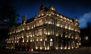 Night time shot of what will be the Shankly Hotel