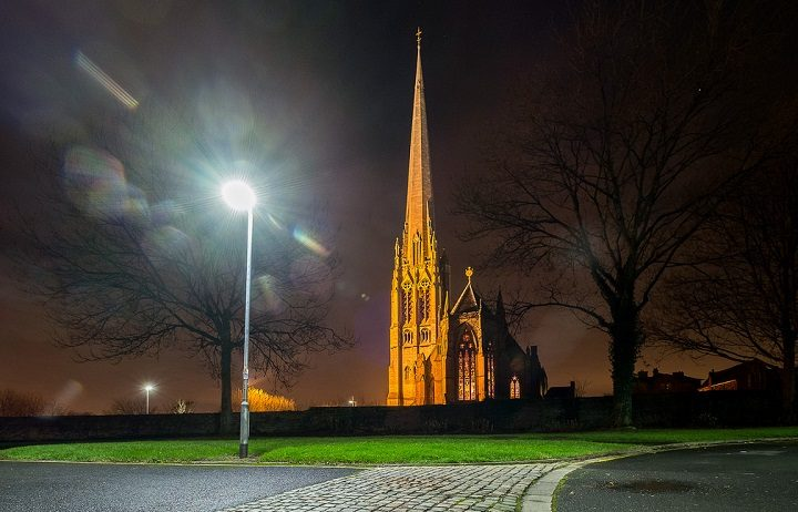 A street lamp burning bright near St Walburge's church Pic: Paul Melling