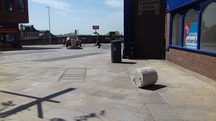 Bollard had been sent flying from its usual position Pic: Blog Preston