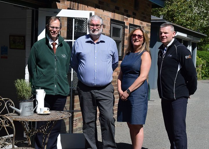 (L-R) John Gillman (PCC Landscape Architect); Cllr Robert Boswell (PCC); New operator of the café, Kelly Turner; Steve Daley (PCC Deputy Head of Parks & Street Scene)