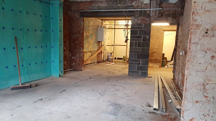 Inside what will be Brig N Barrel following the refit