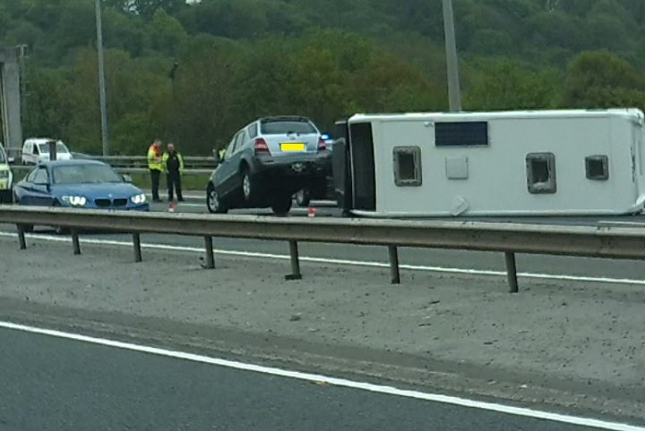 Scene on the M6 after the caravan overturned