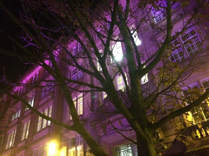 County Hall turned purple