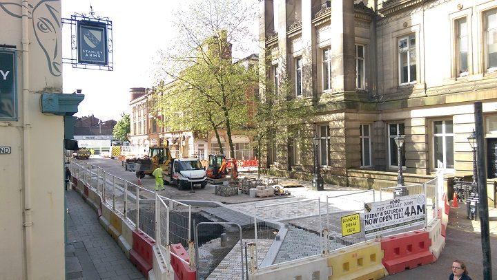 Roadworks are ongoing in Lancaster Road itself, near the Harris and Guild Hall Pic: Blog Preston