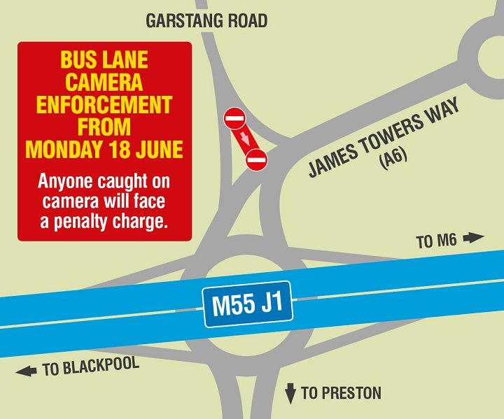 Map showing the enforced bus lane