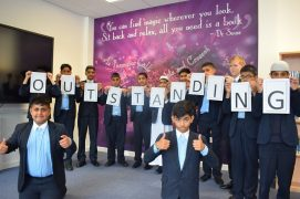 Pupils from Eden Boys celebrate the Ofsted rating