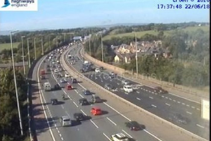 Traffic queueing at Junction 31 northbound on the M6 Pic: Motorway Cameras