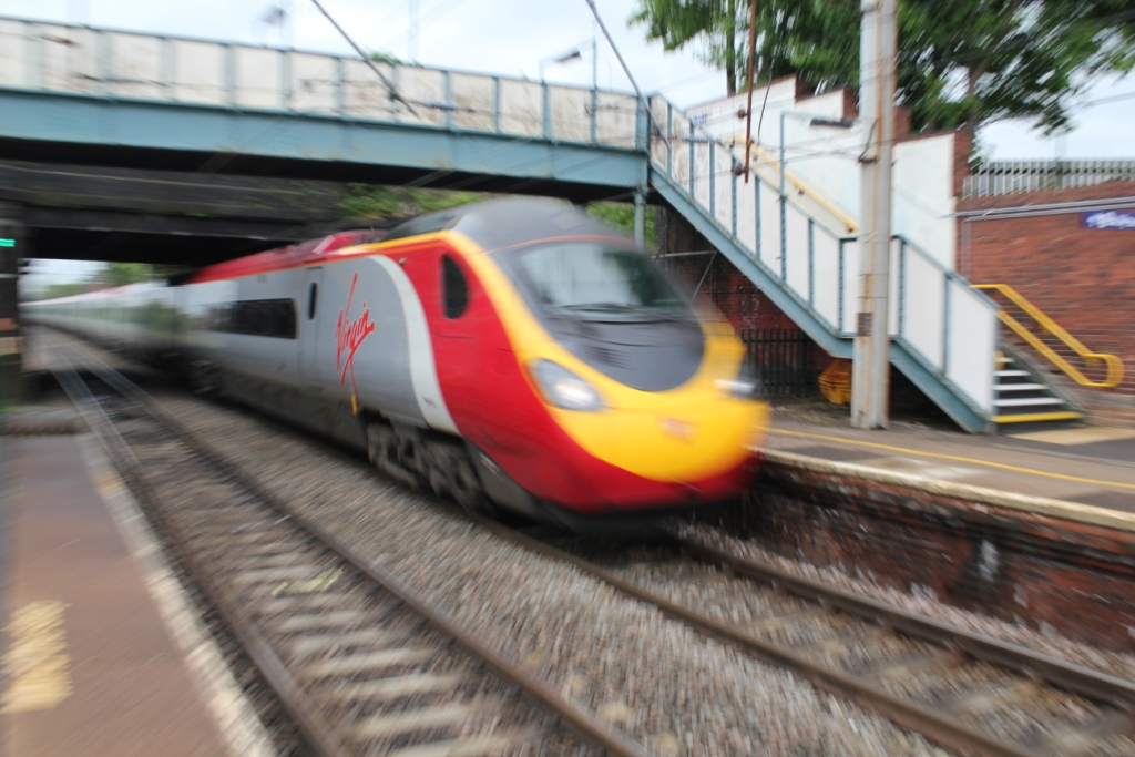 Virgin Trains Class 390 Penolino passing through Leyland