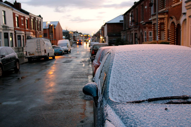 snow on cars in preston