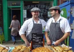 pork pie sellers at lancashire market