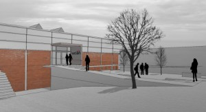 artists impression of new look Foster building entrance