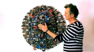 Michael Brennan-Wood with one of his art pieces