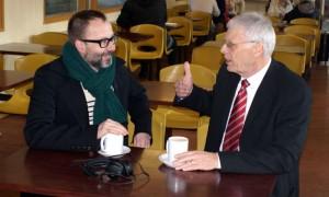 Bus station campaigner John Wilson being interviewed