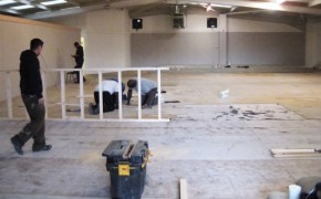 Volunteers hard at work converting the former offices into their new church